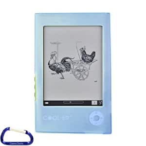 COOL-ER eReader eBook Silicone Skin Case Cover (Blue) with Free Carabiner Key Chain