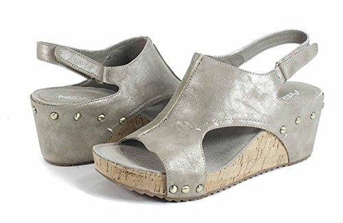Antilop Kvinna 555 Metallic Läder Träffade Zip Sandaler Guld