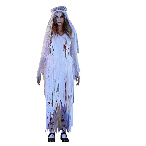 Kimloog Adult Women's Short Sleeve High Low Irregular Blood Corpse Bride Halloween Long Dress Party Cosplay Costume With Veil (L, White)]()