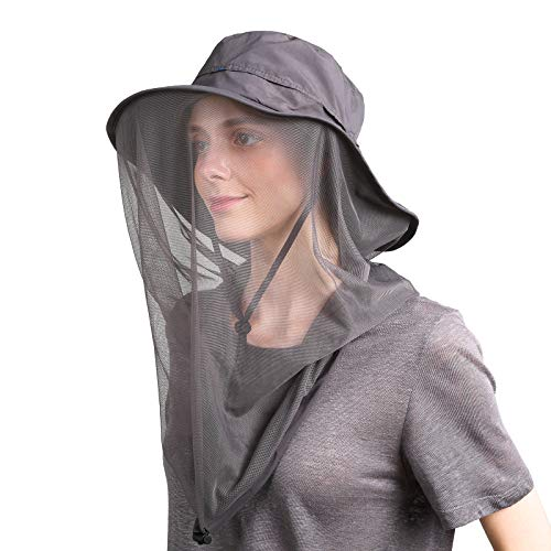 (Flammi Mosquito Head Net Hat Outdoor UPF 50+ Sun Hat with Mesh Protection from Insect Bug Bee Gnats Bucket Boonie Hat Cap Outdoor Men/Women (Dark Grey))