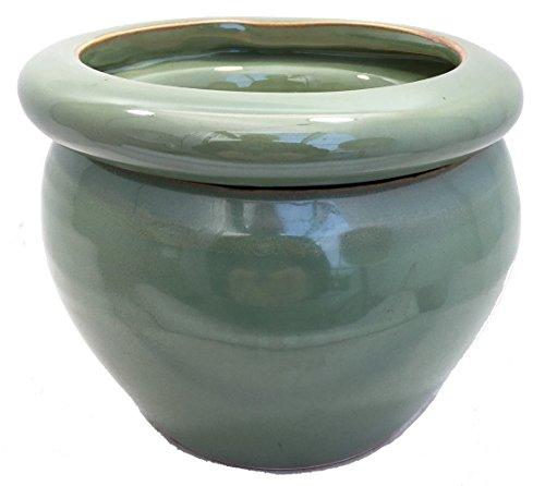 Round Self Watering Glazed Ceramic