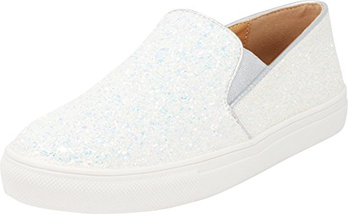 Cambridge Select Women's Closed Round Toe Stretch Slip-On White Sole Flatform Fashion Sneaker,9 B(M) US,White Glitter