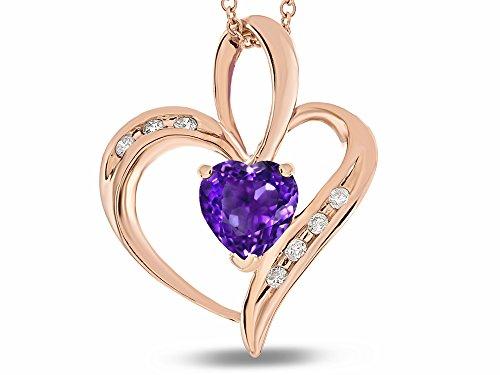 (Star K Heart Shape 6 mm Genuine Amethyst Pendant Necklace 10 kt Rose Gold)