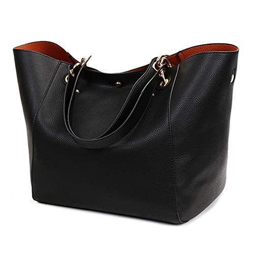 - Pahajim fashion PU leather Waterproof handbags women tote bags shoulder bag (black)