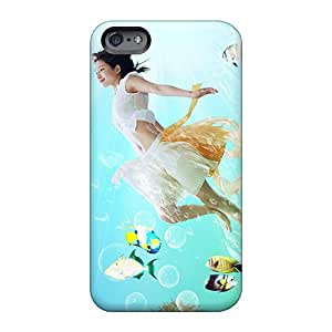 Customcases88 Apple Iphone 6s Plus Shock Absorbent Hard Phone Covers Custom Beautiful Fish With Girl Skin [wwP4411ObHP]