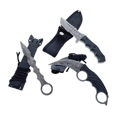 Falcon CSGO Tactical Fixed Blade Knife Set - Karambit, Huntsman, Tactical Knife/Arrow Style Tactical Knife, 2 Rings Karambit, Huntsman. 2 Different ...