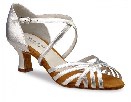 Anna Kern Women's Model 908 - 2'' (5.0 cm) Latin Heel, Silver Leather, 7.5 M US (4.5 UK) by Anna Kern