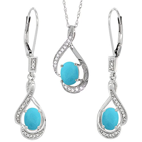 14K White Gold Diamond Natural Turquoise Lever Back Earrings & Necklace Set Oval 7x5mm, 18 inch long
