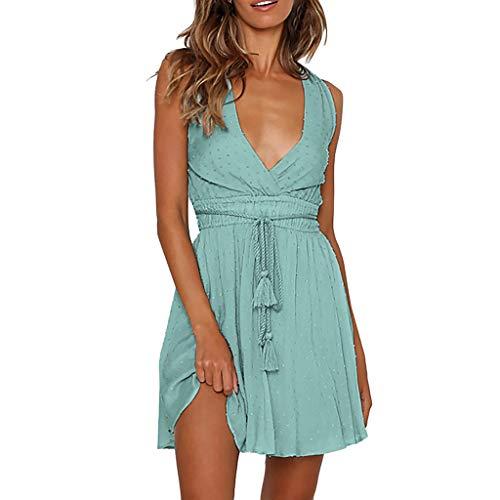 Mysky Summer Women Popular Sexy Deep V-Neck Backless Halter Pure Color Soft Cotton Criss Cross Lace Up Mini Dress Green