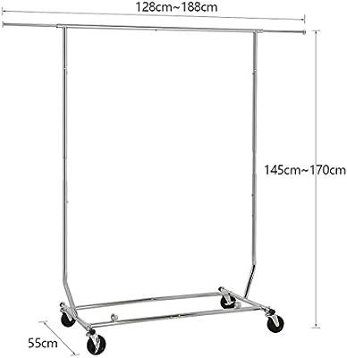 HLC - Armario con ruedas para ropa, de Metal, altura y anchura regulables.