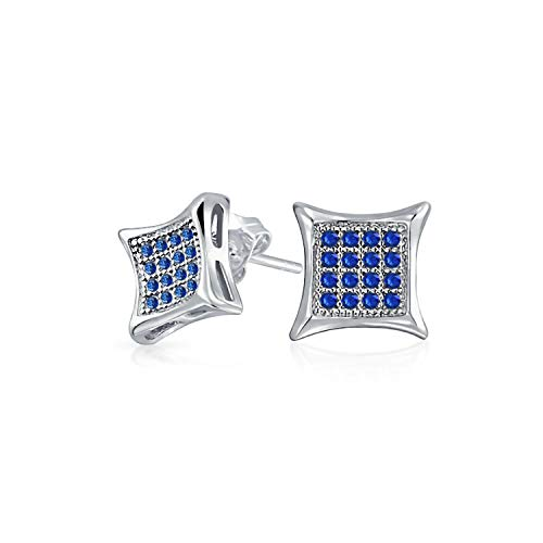 - Mens Womens Square Shaped Cubic Zirconia Micro Pave Blue Simulated Sapphire Kite Stud Earrings 925 Sterling Silver 7MM