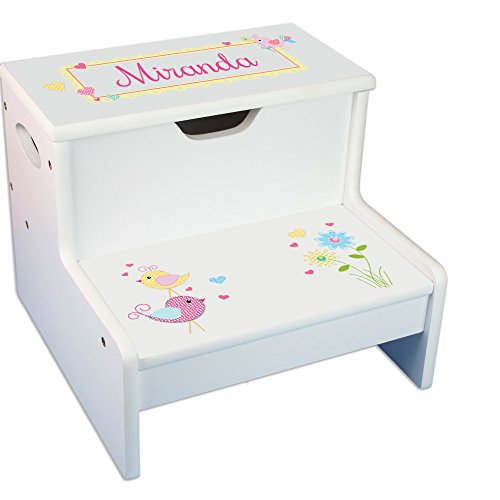 - Personalized Brunette Mermaid Princess White Childrens Step Stool with Storage