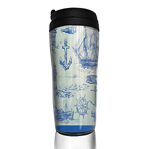 coffee cups for mom and dad Nautical Anchor,Whale Sail Boat Steering Wheel and Old Lighthouse Fishing Theme Sketchy,Blue Eggshell 12 oz,coffee cup tree for large cups