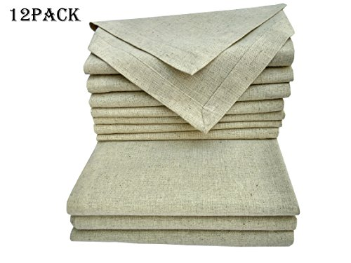 Flax Color (Cloth Dinner Napkins Set Of 12 Pieces, in Natural Rustic Color Flax By Flax (30% Linen,70% Cotton) Fabric with One Inch Decorative selvage & Mitered corner Finish offered by Linen Clubs.)