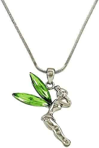 """Silvertone Tinkerbell Pendant Necklace Green Crystal 18/"""" Stainless Steel Chain"""