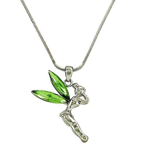 DianaL Boutique Silvertone Fairy Tinkerbell Pendant Necklace Green Crystal Wings Gift Boxed Tinker Bell Fashion Jewelry for Women Teens and Girls (Charm Tinkerbell)