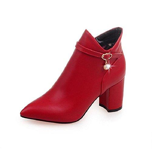 KHSKX-Single - Stiefel Und Stiefeletten Die Ferse Hochhackige Schuhe Mit Reißverschluss Frauen Roten Hochzeit Kurze Stiefel Frühling gules