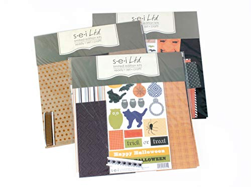 Halloween Scrapbooking Layout Kit - 3 Double Page Layouts, Pre-Cut Kit Ready to Assemble]()