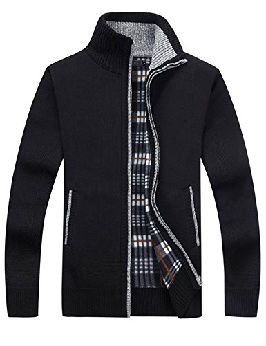 - Yeokou Men's Casual Slim Full Zip Thick Knitted Cardigan Sweaters with Pockets (Medium, Black001)