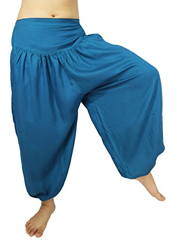 [Lovely Creations Women's loose Harem Aladdin Yoga Elastic Waist Casual Pants (JR Ocean blue)] (Genie Outfit)