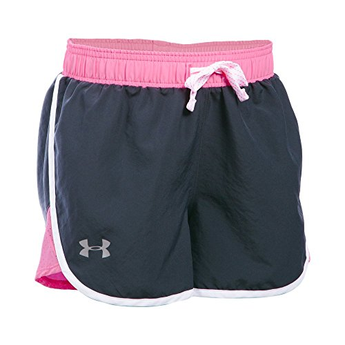 Under Armour Girls' Fast Lane Shorts,Stealth Gray/Reflective , Youth X-Small