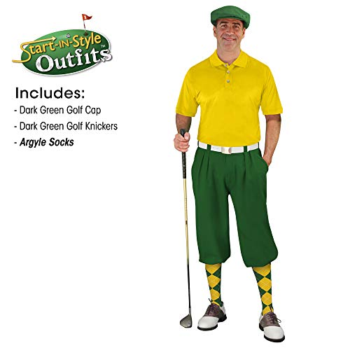 Golf Knickers Start-in-Style Outfit - Mens - Dark Green - Size 34 -