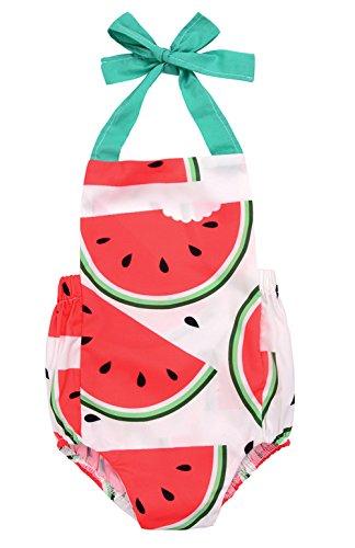 Price comparison product image Newborn Baby Girls Sleeveless Tassels Strawberry Print Backless Bodysuit (18-24M,  watermelon)