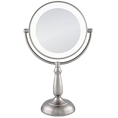 Zadro Satin Nickel Dual Sided Led Lighted Dimmable Touch Vanity Mirror, 12X / 1X Magnification