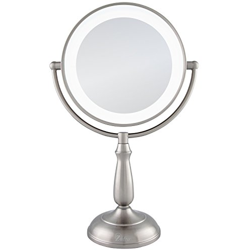 Zadro 10X 1X Dual Sided Next Generation Led Lighted Dimmable Touch Vanity Mirror, Satin Nickel