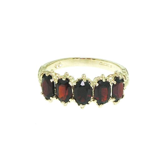 LetsBuyGold Victorian Design Solid 14K Yellow Gold Garnet Band Ring - Size ()