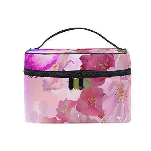 DEZIRO Cartoon Hummingbird Peach Blossoms cute makeup bag brush bag Pouch