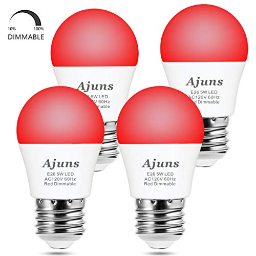 LED Red Light Bulb Dimmable 40W Equivalent A15 Red Light Bedroom Night Light Party Decoration Porch Holiday Lighting E26 Base 5W 4Pack,ajuns
