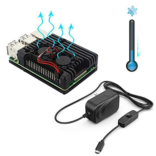 (NorthPada Raspberry Pi 3 Model B+ KIT Power Supply 5V 3A with ON/Off Switch Micro USB + Aluminum Case with Dual Fan Heatsink (Only for Pi 3 B+))