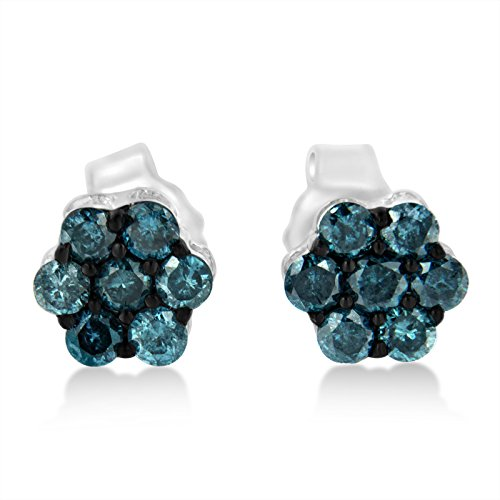 Sterling Silver Treated Blue Diamond Floral Stud Earrings (0.5 cttw, Blue Color, I2-I3 (Diamond Floral Stud)