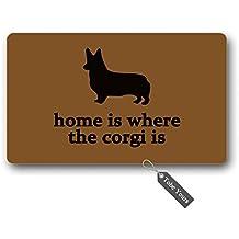 TobeYours Home Is Where The Corgi Is Custom Doormats Area Rug Non-Slip Machine Washable Door Mats Home Decor 30(L) X 18(W) Inch
