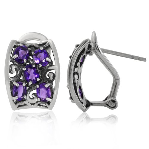 (1.6ct. Natural African Amethyst 925 Sterling Silver Filigree Omega Clip Earrings)