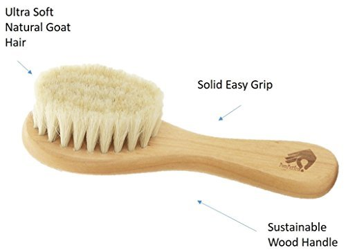 Natural Soft Newborn Baby Brush Set – Goat Hair Bristles with Eco-Friendly Wood Handle   Wooden Infant Cutie Comb by PomPerfect