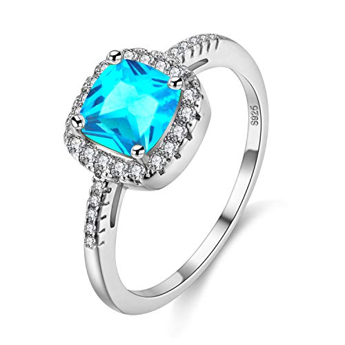 Uloveido White Gold Plated Cushion Cut Cubic Zirconia Halo Solitaire Engagement Rings for Women, Charm Wedding Rings (Blue, Size 7) Y3100