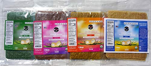 coco nori variety pack coconut wrawps by wrawp all flavors: original curry strawberry and spirulina by Wrawp