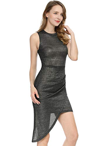 Allegra K Women's Metallic Shiny Asymmetrical Drape Bodycon Party Dress S Black