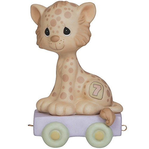 Precious Moments,  Wishing You Grr-Eatness, Birthday Train Age 7, Bisque Porcelain Figurine, 142027