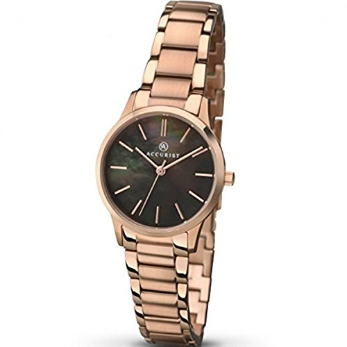 Accurist Ladies Analogue Watch With Rose Gold Plated Bracelet And Black Mother Of Pearl Dial 8099