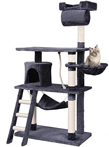 MC Star Árbol para Gato con Rascador Estable Grandes con Piso Engrosado y Tunel Arañazo Juguetes Sisal 141cm, Gris: Amazon.es: Productos para mascotas