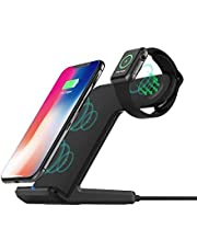 Wireless Charger ADDANY 10W Fast Wireless Charging Stand 2 in 1 Charging Station for Apple Watch 6/SE/5/4/3/2, iPhone 12/12 Pro/11/11 Pro/XS MAX/XR/X/8,Samsung Galaxy S20/S10/Note 20 (No AC Adapter) (Black)