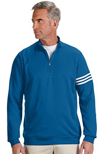 adidas Men's Climalite 3-Stripe 1/4 Zip, Blue Bonnet/White, Large -