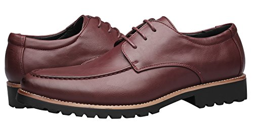 Wingtip Leather Shoes Dress For Santimon Shoes Mens Red Classic Casual Formal Slip on Oxfords Lace Up wUqxvIpx