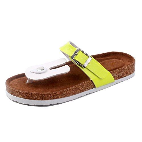 LaoZan Damen Clip Toe Sandalen Strand Schuhe Pantoletten mit Korkfußbett Flip Flop Zehentrenner Offene Sandalen 38 5 4PwWW