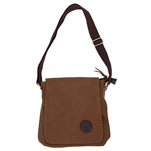 SODIAL (R) Segeltuch Herrenhandtasche Schultertasche mit verstellbarem Schultergurt - Kaffee