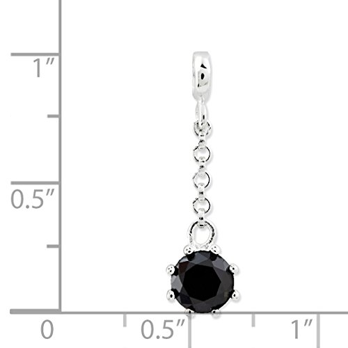 ICE CARATS 925 Sterling Silver Black Cubic Zirconia Cz 1/2in Dangle Enhancer Necklace Pendant Charm Fine Jewelry Ideal Gifts For Women Gift Set From Heart by ICE CARATS (Image #3)