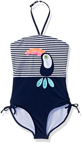 Kate Mack Little Girls' Daisy Crew Halter Neck 1pc Swimsuit, Navy/White, 5 - Kate Mack Daisy